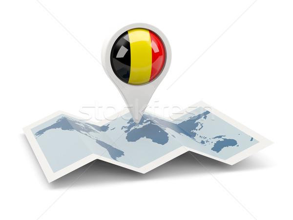 Pin bandera Bélgica mapa viaje blanco Foto stock © MikhailMishchenko