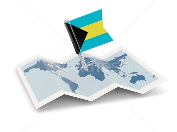 Mapa bandeira Bahamas isolado branco Foto stock © MikhailMishchenko