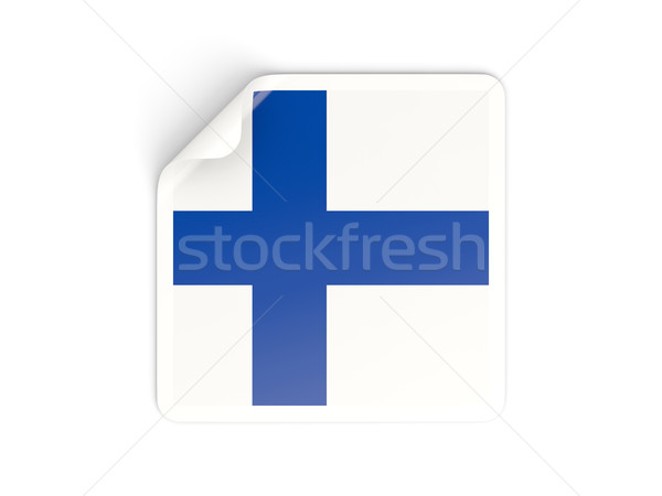 Praça adesivo bandeira Finlândia isolado branco Foto stock © MikhailMishchenko