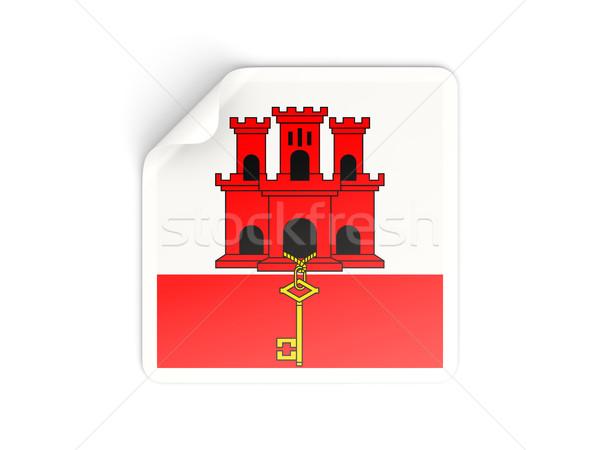 Placu naklejki banderą gibraltar odizolowany biały Zdjęcia stock © MikhailMishchenko
