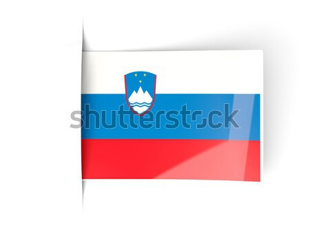 広場 ステッカー フラグ スロベニア 孤立した 白 ストックフォト © MikhailMishchenko