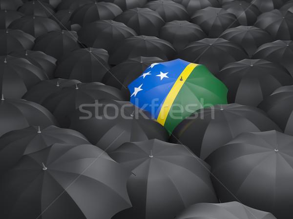 Umbrella with flag of solomon islands Stock photo © MikhailMishchenko