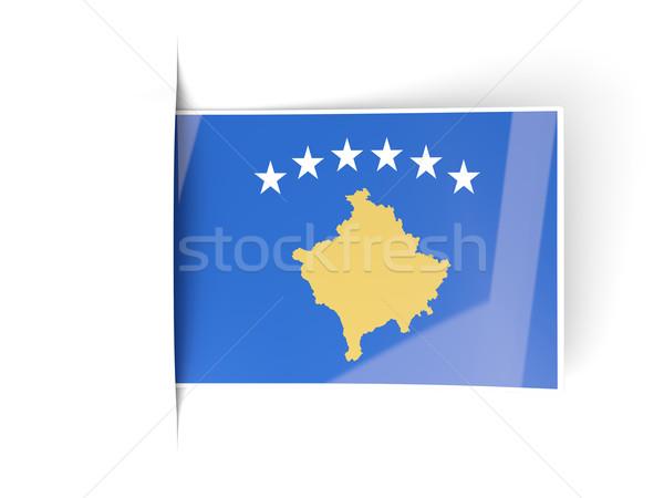 Praça etiqueta bandeira Kosovo isolado branco Foto stock © MikhailMishchenko