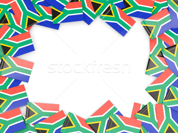 Rahmen Flagge Südafrika isoliert weiß Stock foto © MikhailMishchenko