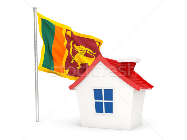 Huis vlag Sri Lanka geïsoleerd witte home Stockfoto © MikhailMishchenko
