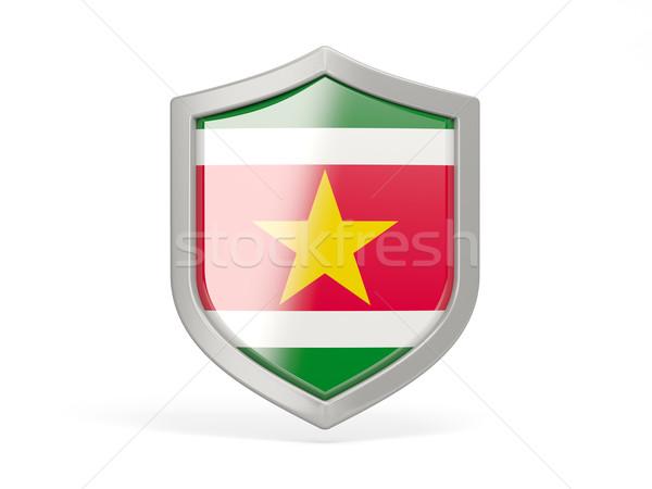 щит икона флаг Суринам изолированный белый Сток-фото © MikhailMishchenko