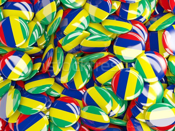Banderą Mauritius tle kraju pin kółko Zdjęcia stock © MikhailMishchenko