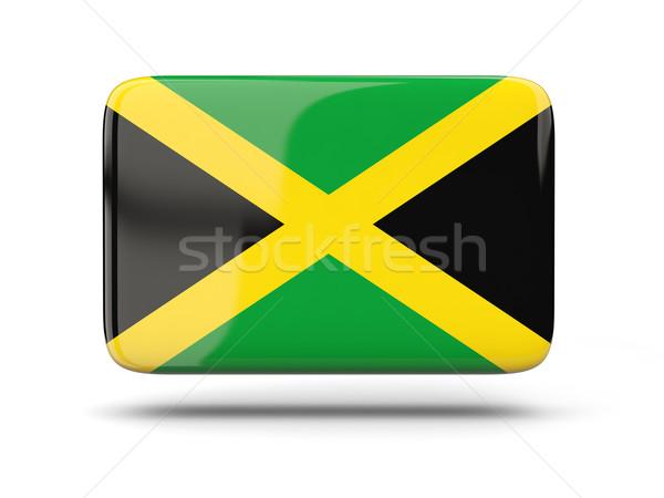Vierkante icon vlag Jamaica schaduw teken Stockfoto © MikhailMishchenko