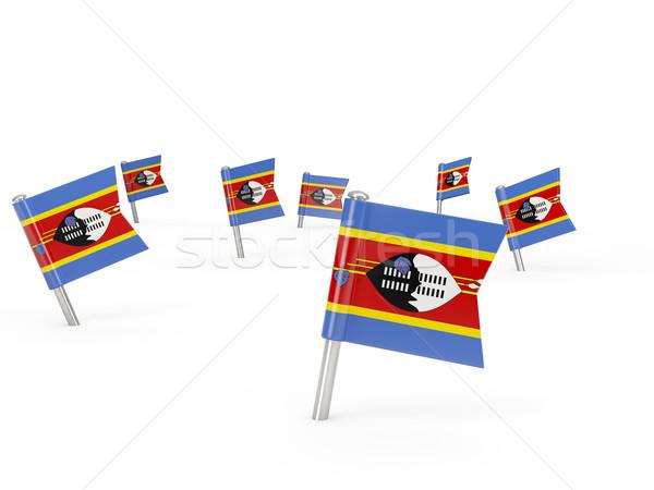 Placu banderą Suazi odizolowany biały kraju Zdjęcia stock © MikhailMishchenko
