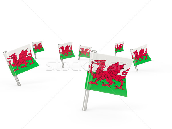 Square pins with flag of wales Stock photo © MikhailMishchenko
