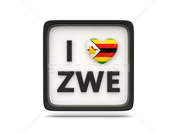 Szeretet Zimbabwe felirat izolált fehér zászló Stock fotó © MikhailMishchenko