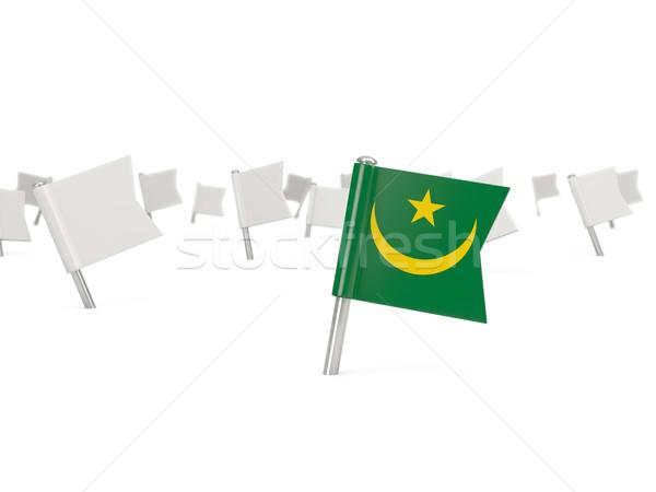Square pin with flag of mauritania Stock photo © MikhailMishchenko