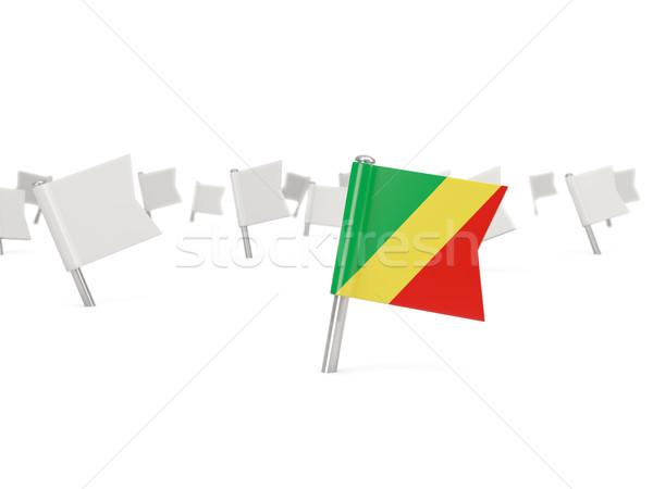 Cuadrados pin bandera república Congo aislado Foto stock © MikhailMishchenko