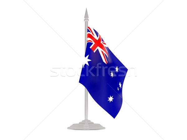 флаг Австралия флагшток 3d визуализации изолированный белый Сток-фото © MikhailMishchenko