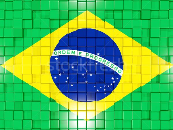 Tér alkatrészek zászló Brazília 3d illusztráció mozaik Stock fotó © MikhailMishchenko