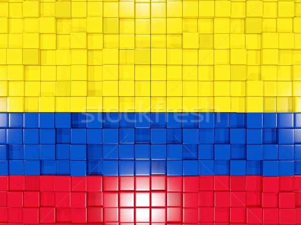 квадратный флаг Колумбия 3d иллюстрации мозаика Сток-фото © MikhailMishchenko