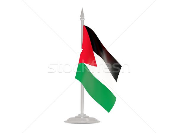 флаг Иордания флагшток 3d визуализации изолированный белый Сток-фото © MikhailMishchenko