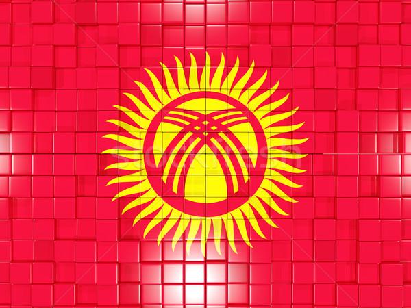 Vierkante onderdelen vlag Kirgizië 3D mozaiek Stockfoto © MikhailMishchenko