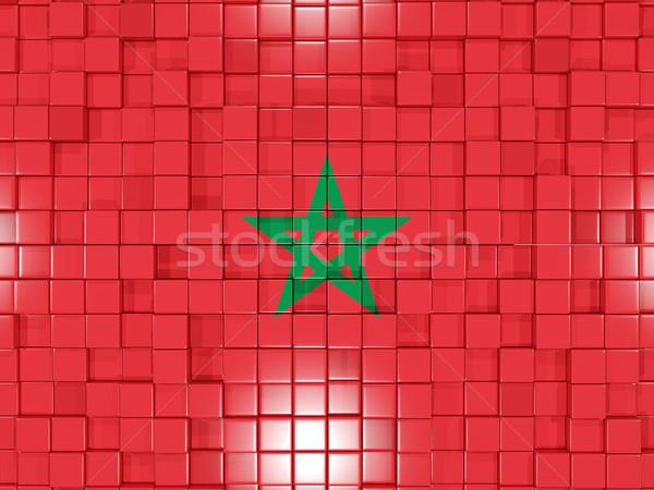 Vierkante onderdelen vlag Marokko 3d illustration mozaiek Stockfoto © MikhailMishchenko