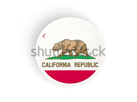 Flag of california with banner, US state round icon Stock photo © MikhailMishchenko