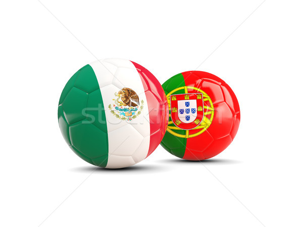 Two footballs with flags of Mexico and Portugal isolated on whit Stock photo © MikhailMishchenko
