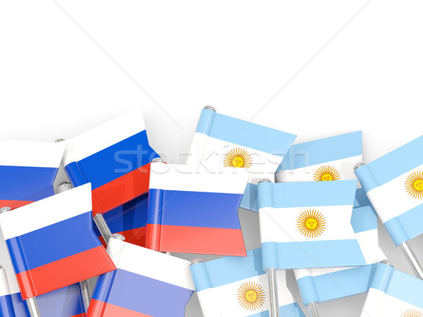 Flag pins of Russia and Argentina isolated on white Stock photo © MikhailMishchenko