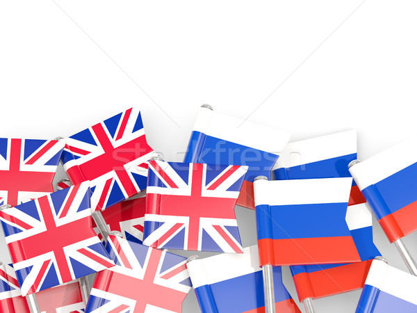 Flag pins of United Kingdom and Russia isolated on white Stock photo © MikhailMishchenko