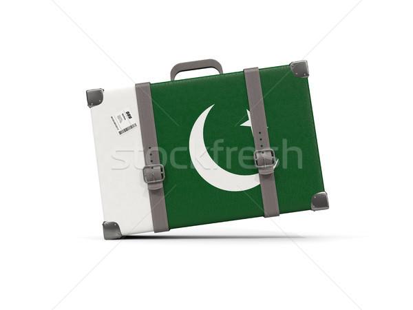Bagaj bayrak Pakistan bavul yalıtılmış beyaz Stok fotoğraf © MikhailMishchenko
