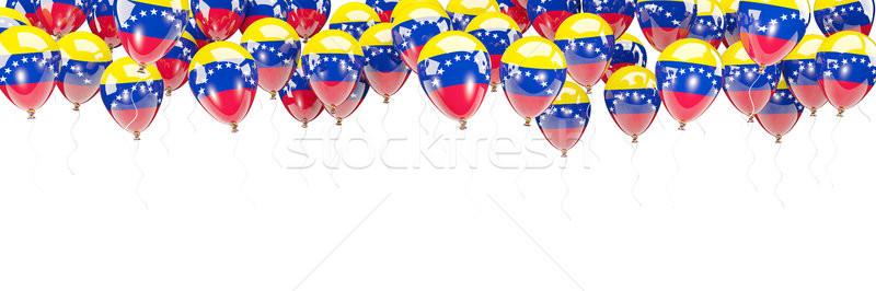 Léggömbök keret zászló Venezuela izolált fehér Stock fotó © MikhailMishchenko