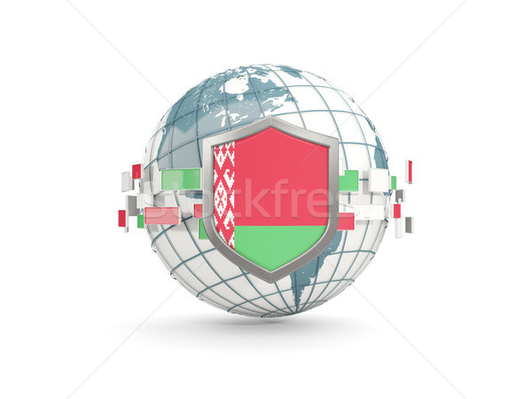 Globe and shield with flag of belarus isolated on white Stock photo © MikhailMishchenko