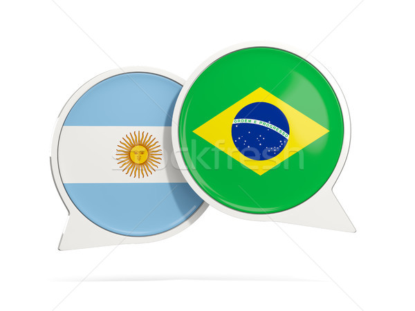 Chat bubbles of Argentina and Brazil isolated on white Stock photo © MikhailMishchenko