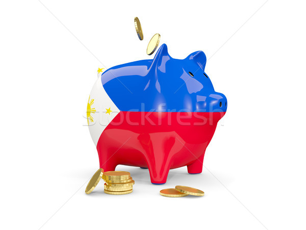 Fat piggy bank with fag of philippines Stock photo © MikhailMishchenko