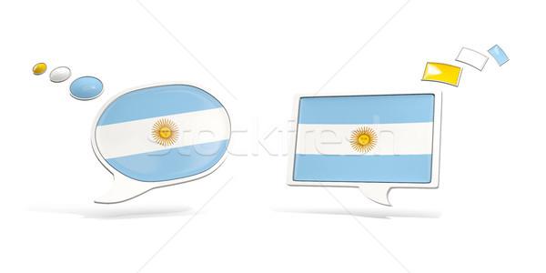 Deux chat icônes pavillon Argentine carré Photo stock © MikhailMishchenko