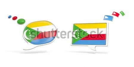 два чате иконки флаг Габон квадратный Сток-фото © MikhailMishchenko