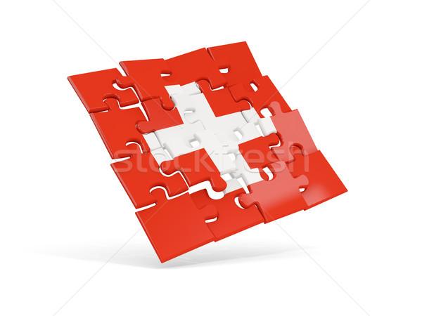 パズル フラグ スイス 孤立した 白 3次元の図 ストックフォト © MikhailMishchenko