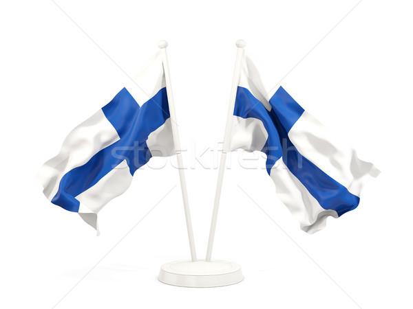 Kettő integet zászlók Finnország izolált fehér Stock fotó © MikhailMishchenko