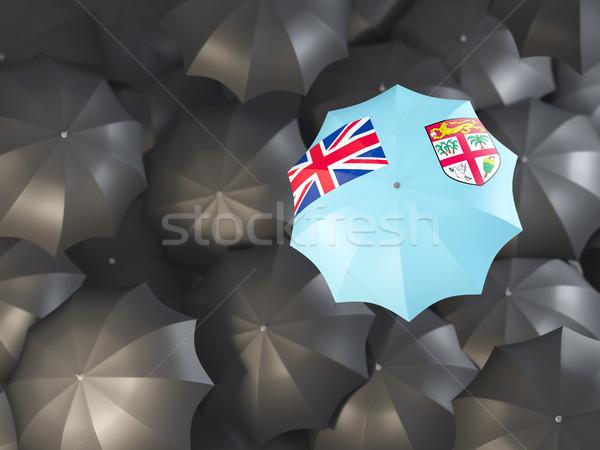 Esernyő zászló Fidzsi-szigetek felső fekete esernyők Stock fotó © MikhailMishchenko