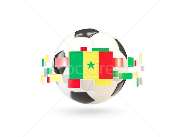 Soccer ball with line of flags. Flag of senegal Stock photo © MikhailMishchenko