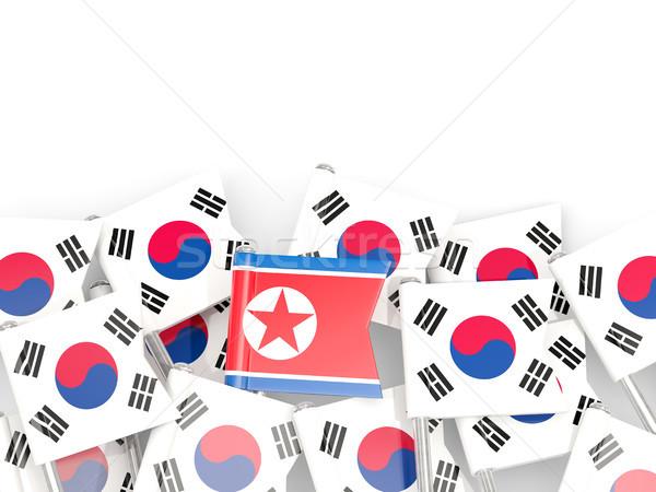 Bandeira Coréia do Sul norte isolado branco ilustração 3d Foto stock © MikhailMishchenko