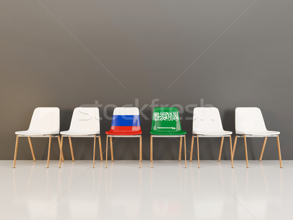 Chairs with flag of Russia and saudi arabia Stock photo © MikhailMishchenko