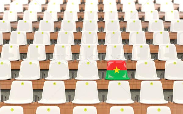 Stadion zitting vlag Burkina rij witte Stockfoto © MikhailMishchenko