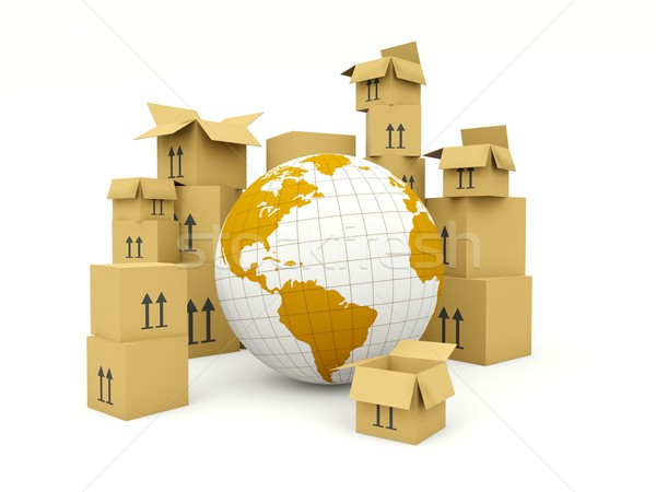 Earth with boxes isolated on white. Delivery and shipment concept Stock photo © MikhailMishchenko