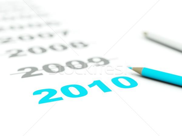 2010 teken potloden Blauw grijs ontwerp Stockfoto © MikhailMishchenko