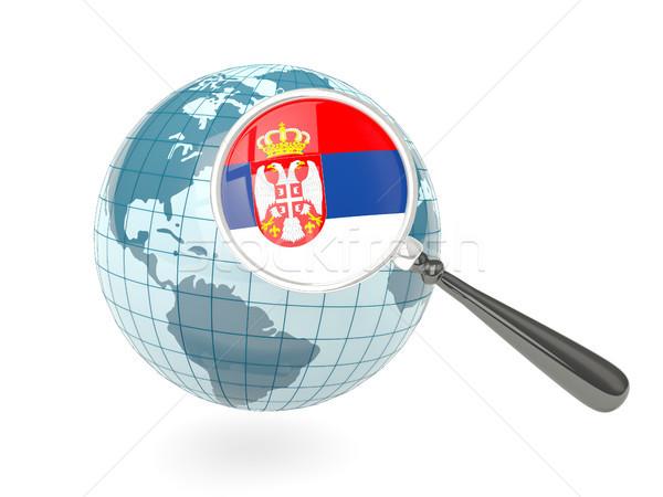 Banderą Serbia niebieski świecie odizolowany Zdjęcia stock © MikhailMishchenko