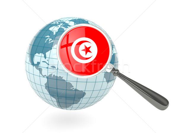 拡大された フラグ チュニジア 青 世界中 孤立した ストックフォト © MikhailMishchenko
