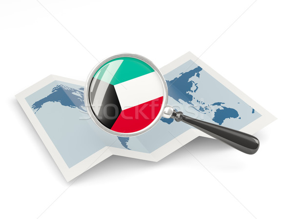Magnified flag of kuwait with map Stock photo © MikhailMishchenko