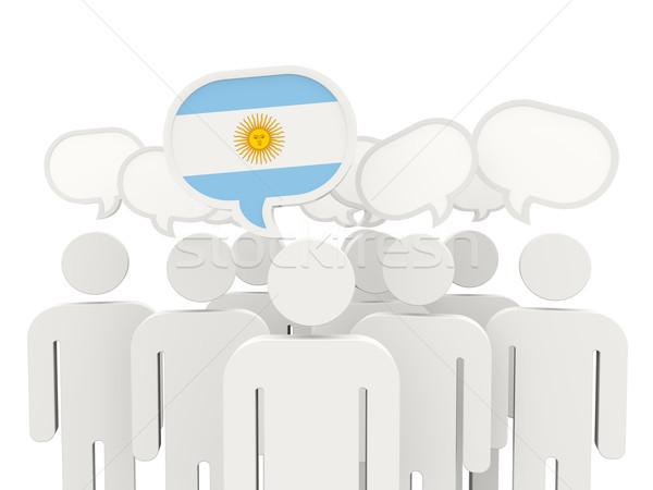Personnes pavillon Argentine isolé blanche réunion Photo stock © MikhailMishchenko