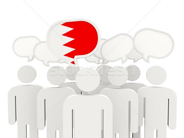 Pessoas bandeira Bahrein isolado branco reunião Foto stock © MikhailMishchenko