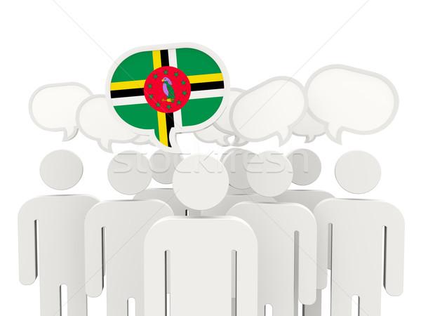 Mensen vlag Dominica geïsoleerd witte vergadering Stockfoto © MikhailMishchenko