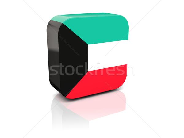 квадратный икона флаг Кувейт отражение белый Сток-фото © MikhailMishchenko
